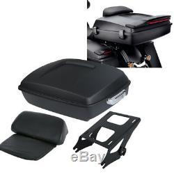 10.7 Chopped Pack Trunk Razor Backrest +Rack For Harley Tour Pak Touring 14-20