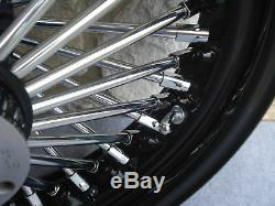 16 Black Fat Spoke Rear Wheel For Harley Fxst Softail Touring Baggers 2000-07