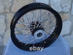 16 X 3.5 60 Spoke Black Rear Wheel For Harley Fxst, Flst, Xl, Touring
