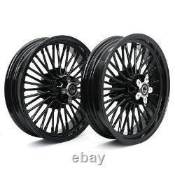 16 x 3.5 Fat Spoke Front Rear Wheel Rim Set for Harley Dyna TOURING Gloss Black