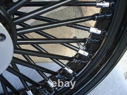 18 Black Fat Spoke S/d Front Wheel Harley Touring 2000-07 & Fxdwg 2000-05