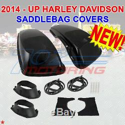 2014 + Up Harley Davidson Touring VIVID Black Hard Saddlebag 6x9 Speaker Lids