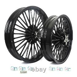 21 18 Black Fat Spoke Wheels Rim Set Dual Disc For Harley Touring Softail Dyna