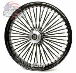 21 x 3.5 48 Fat King Spoke Front Wheel Black Rim Harley Touring Bagger 08-2020