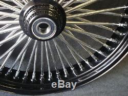 21x3.5 & 18x4.25 Dna Mammoth 52 Spoke Fat Daddy Black Wheels 4 Harley & Touring