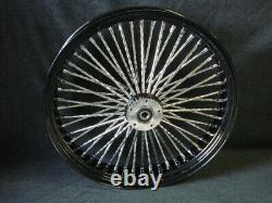 21x3.5 Black Dna Mammoth 52 Diamond Spoke 84-99 Front Wheel For Harley Touring