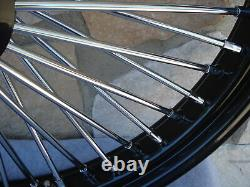 21x3.5 Fat Spoke Dual Disc Black Front Wheel Harley Flt Touring Baggers 00-07