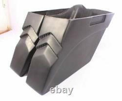 4 Bagger Stretched Extended Saddlebags for Harley Touring Softail Led Lights