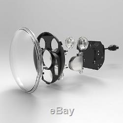 5.75 gloss black LED daymaker bullet headlight Harley Softail vrod touring FXST