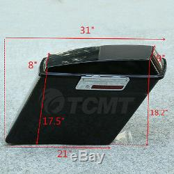 5 ABS Stretched Extended Saddlebags Speaker Lid For Harley Touring Glide 93-13