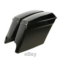 5 Glossy Black Stretched Extended Saddlebags For Harley Touring 2014-2020 18 19
