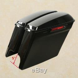5 Stretched Extended Hard Saddle bags For Harley Touring Street Glide 2014-2020