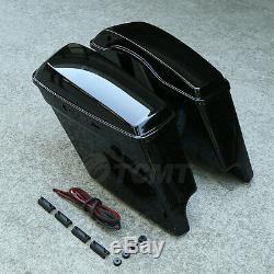 5 Vivid Black Stretched Extended Hard Saddlebags For 14-20 Harley Touring Model