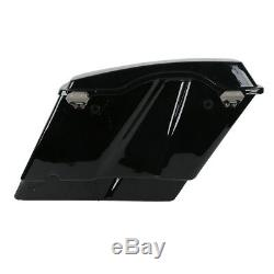 5 Vivid Black Stretched Extended Hard Saddlebags fit For 93-13 Harley Touring