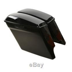 5 Vivid Black Stretched Extended Saddle Bags for Harley Davidson Touring 14-19