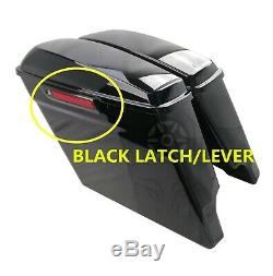 5 Vivid Black Stretched Extended SaddleBags For Harley Touring 14-20 With Latch