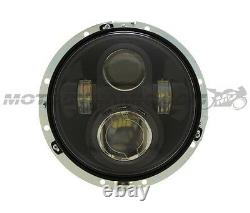 7 LED Projector Head Light Lamp Black for Harley Davidson FLH Touring Softail