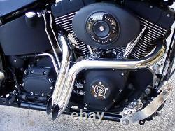 Black 1.75 Drag LAF Pipes Exhaust For Harley Touring Dyna Softail Sportster