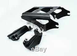 Black 4 Point Docking kit Black Two Up Tour Pak Rack for Harley Touring 09-13