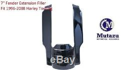 Black 7 rear fender extension filler, stretched add on fit Harley Touring 96-08