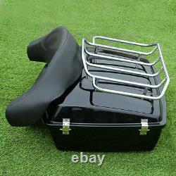 Black Chopped Trunk Backrest+Luggage Rack For Harley Touring Tour Pak Pack 97-13