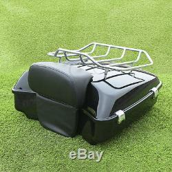 Black Chopped tour pak pack trunk Set For Harley Davidson Touring Models 14-19