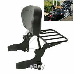 Black Detachable Backrest Sissy Bar & Luggage Rack Fit For Harley Touring Models