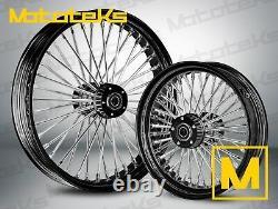 Black Fat Spoke Wheel 21x3.5 & 16x3.5 For Harley Touring Bagger Models 2000-2008
