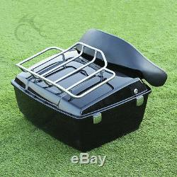 Black King Tour Pak Pack Trunk With Luggage Rack For Harley Road King Glide 97-13