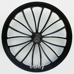 Black Manhattan 23 x 3.5 Billet Front Wheel Rim Harley Touring Softail Chopper