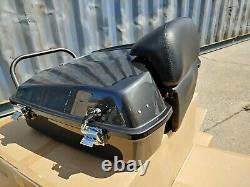 Black Pearl Razor Tour Pak with Chopped Backrest for Harley Touring 97-08
