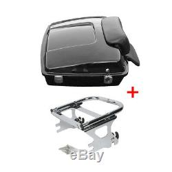 Black Razor Tour Pak Pack Trunk +Two-up Detachable Rack For Harley Touring 97-08