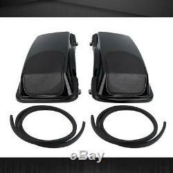 Black Saddlebag Speaker Lid Bag For Harley Tour Street Glide Road King 1993-2013