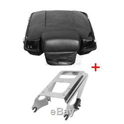 Black Trunk Chopped Tour Pak Pack Backrest + Rack For Harley Touring Glide 09-13