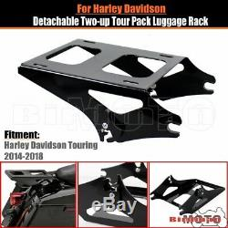 Black Two-Up Tour Pak Pack Mounting Rack For Harley Road King Street Glide 14-UP