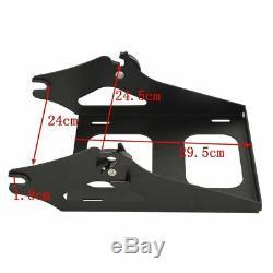 Chopped Matte Black Tour Pak Pack Trunk &Backrest Rack For Harley Touring 14-19