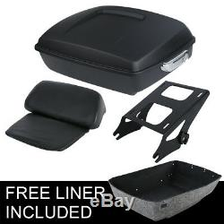 Chopped Tour Pak Pack Trunk Backrest +Rack For Harley Touring Road Glide 14-19