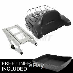 Chopped Tour Pak Pack Trunk Backrest +Two Up Rack For Harley Road King 2014-2019