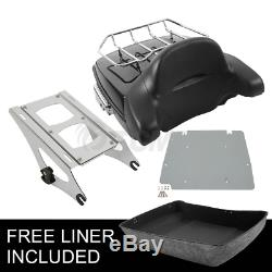 Chopped Tour Pak Pack Trunk Backrest With Two-Up Rack For Harley Touring 2014-2019
