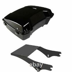 Chopped Tour Pak Pack Trunk WithBlack Latch + Mount Rack For Harley Touring 97-08