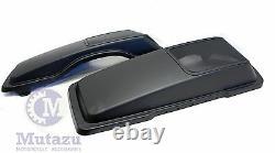 Denim Matte Black CVO Style 6 x 9 Speaker Lids for Harley Touring Saddlebag