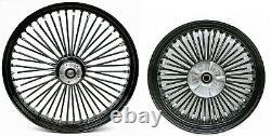 Fat Spoke 21 Front & 18 Rear Wheel Set Harley Electra Glide Road King Street