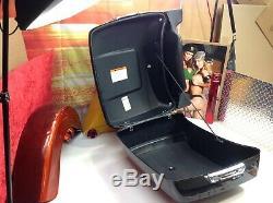 Genuine 00-19 Harley Tour Pack Pak Backrest Trunk Vivid Black OEM