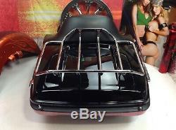 Genuine 00-20 Harley Tour Pack Pak Backrest Trunk Vivid Black OEM