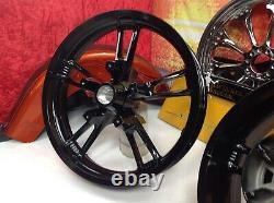 Genuine 09-20 Harley Touring Enforcer Wheels Rims 19 Front & 16 Rear Black