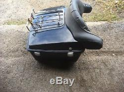 Harley tour pack flh flt flhtc black luggage trunk with backrest pad