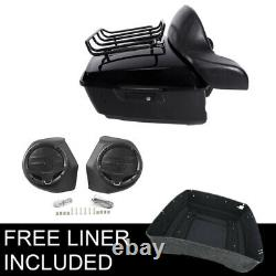 King Pack Trunk With Rack Pad + Speakers Fit For Harley Tour Pak Road Glide 14-21