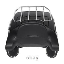 King Tour Pak Trunk Rack Backrest With Speakers For Harley Touring Road King 14-20