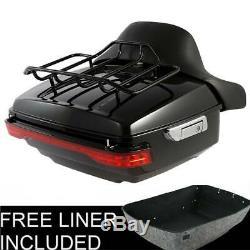 King Trunk Backrest Pad Brake Turn Tail Light For Harley Touring 14-19 Tour Pak