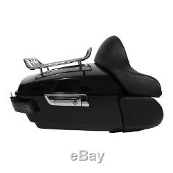 King Trunk Rack Backrest WithTail Light Speakers For Harley Tour Pak Touring 14-19